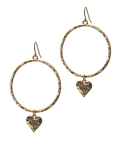 METAL HOOP AND HEART DROP EARRING