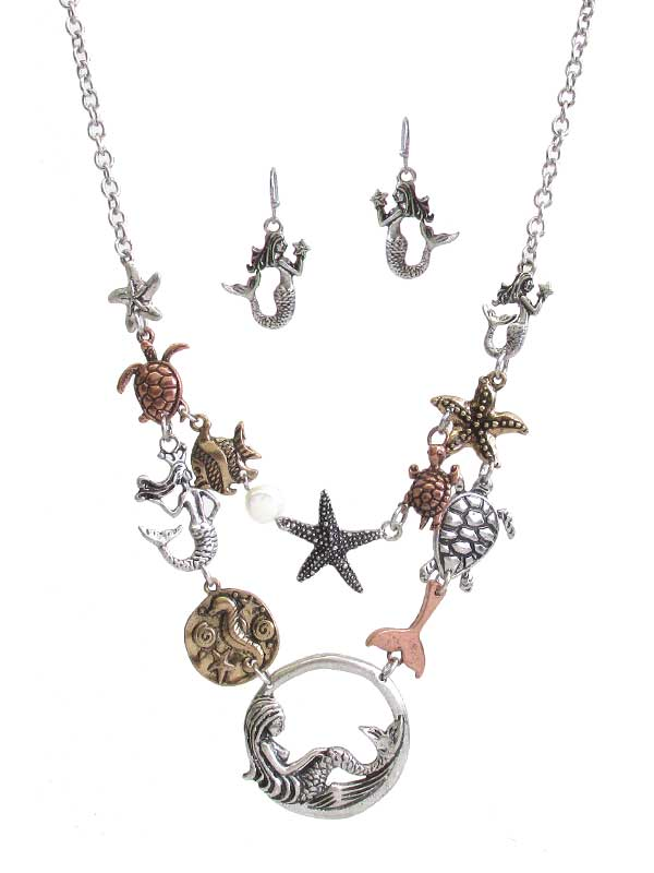 SEALIFE THEME MULTI CHAIM LINK NECKLACE SET