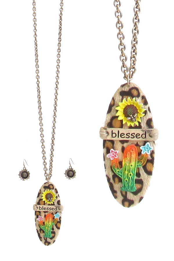 ANIMAL PRINT PENSANT NECKLACE SET - CACTUS AND SUNFLOWER