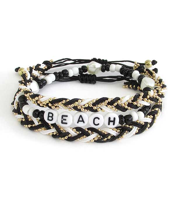 WORD BLOCK SEEDBEAD AND FRESHWATER PEARL STACKABLE STRETCH BRACELET - BEACH