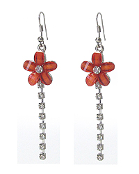 FACET GLASS FLOWER AND RHINESTONE DROP EARRING