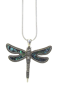 ABALONE DRAGONFLY PENDANT NECKLACE
