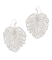METAL FILIGREE GIANT MONSTERA LEAF EARRING
