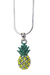 WHITEGOLD PLATING CRYSTAL PINEAPPLE PENDANT NECKLACE
