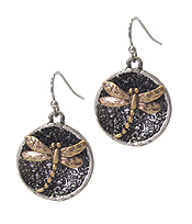 DRAGONFLY ON DISC EARRING