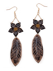 FAUX LEATHER FLOWER AND LEAF DROP EARRING