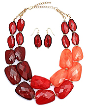 MULTI COLOR FACET RESIN STONE DOUBLE CHAIN NECKLACE EARRING SET