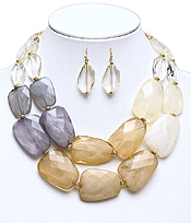 CHUNKY MULTI COLOR FACET RESIN STONE DOUBLE CHAIN NECKLACE EARRING SET