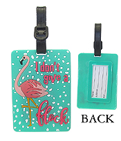 LARGE RUBBER LUGGAGE TAG - I DON'T GIVE A FLOCK