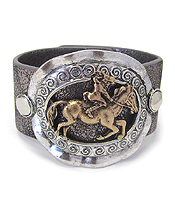 CHUNKY METAL DISC AND THICK LEATHERETTE BAND BRACELET - COWBOY