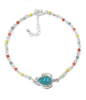 SEALIFE PUFFY STONE AND BEAD ANKLET - TURTLE