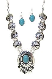 WESTERN STYLE TURQUOISE DISC LINK NECKLACE SET