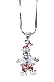 WHITEGOLD PLATING CRYSTAL CLOWN PENDANT NECKLACE