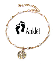SEALIFE THEME CHARM ANKLET - PEARL AND SAND DOLLAR