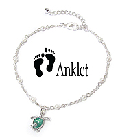 SEALIFE THEME CHARM ANKLET - PEARL AND TURTLE
