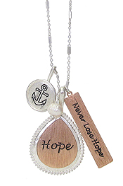 RELIGIOUS THEME PENDANT NECKLACE - NEVER LOSE HOPE