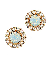 OPAL CRYSTAL AND PEARL STUD EARRING