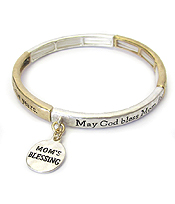 RELIGIOUS INSPIRATION MESSAGE STRETCH BRACELET - MOM'S BLESSING