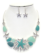 SEALIFE THEME AND SEA GLASS NECKLACE SET - STAR FISH