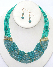 MULTI SEED BEADS NECKLACE SET