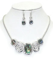 ABALONE AND SWIRL METAL LINK NECKLACE SET