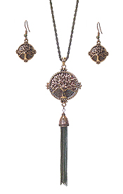 TEXTURED TREE OF LIFE PENDANT AND LONG TASSEL DROP NECKLACE SET