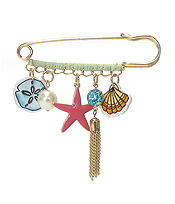 MULTI ACRYLIC AND METAL CHARM DROP BROOCH PIN - SEALIFE