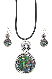 SWIRL ABALONE PENDANT NECKLACE SET