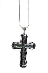 ABALONE STONE CROSS PENDANT NECKLACE