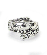 RELIGIOUS INSPIRATION UTENSIL SPOON  TEXTURE STRETCH RING