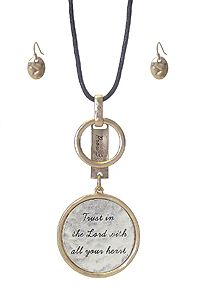 RELIGIOUS INSPIRATION MESSAGE PENDANT LONG NECKLACE SET - TRUST IN THE LORD WITH ALL YOUR HEART