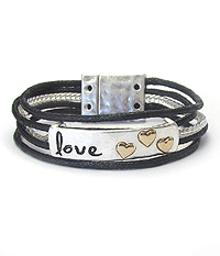 INSPIRATION MESSAGE WAX CORD CHAIN MAGNETIC BRACELET -