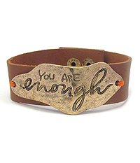 INSPIRATION MESSAGE LEATHERETTE BAND BRACELET - YOU ARE ENOUGH
