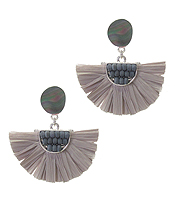 SHELL AND RAFFIA FAN TASSEL EARRING