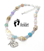 SEALIFE THEME MULTI BEAD AND SHELL ANKLET - MERMAID