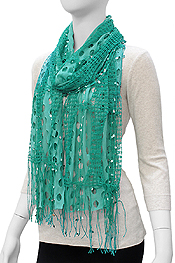 SEQUIN BEAD DOUBLE LAYER VINTAGE CUT OUT SCARF