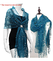 SEQUIN BEAD AND LAYER MESH SHEER SHAWL
