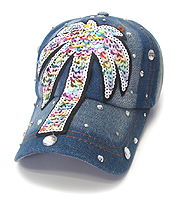 SEQUIN WORN DENIM BASEBALL CAP - PALM TREE