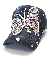 SEQUIN WORN DENIM BASEBALL CAP - BUTTERFLY
