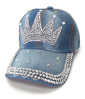 RHINESTONE WORN DENIM BASEBALL CAP - CROWN