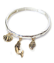 MERMAID AND SHELL CHARM STRETCH BRACELET