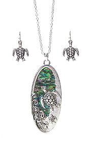 ABALONE WAVE AND TURTLE OVAL PENDANT NECKLACE SET