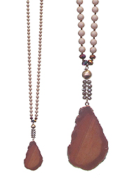 GENUINE STONE PENDANT LONG NECKLACE SET - AGATE
