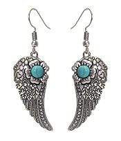 TURQUOISE CENTER ANGEL WING EARRING