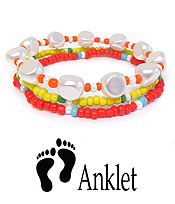 MULTI SEEDBEAD AND PEARL STRETCH ANKLET SET