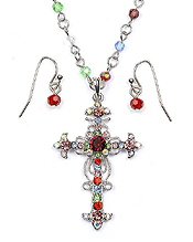 CRYSTAL CROSS PENDANT NECKLACE SET