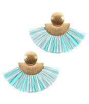 METAL RAFFIA FAN TASSEL EARRING