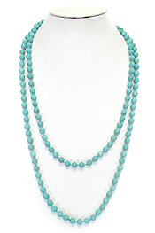 SEMI PRECIOUS STONE KNOT LONG NECKLACE - TURQUOISE