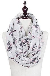 AZTEC PRINT INFINITY SCARF - 100% POLYESTER
