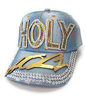 RHINESTONE WORN DENIM BASEBALL CAP - HOLY